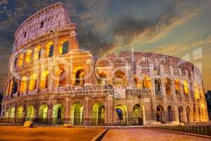 Coliseum enlighted at sunrise, Rome, Italy, no people
