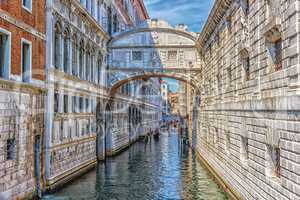 The Bridge of Sighs over a Palace Canal in Venice, Italy