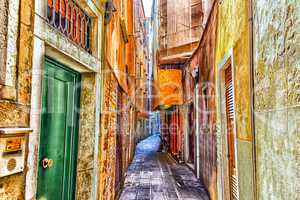 Narrow street in the downtown of Venice, Italy