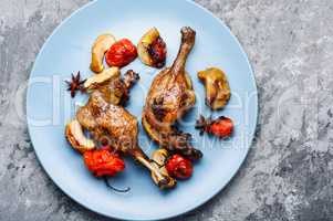 Appetizing roasted duck leg