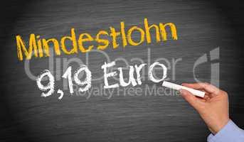 Mindestlohn 9,19 Euro ab 2019, Mindestlohnerhöhung