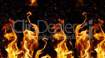 orange and yellow flames with sparks