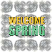 Welcome spring words on holiday card