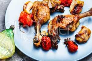 Christmas roast duck leg