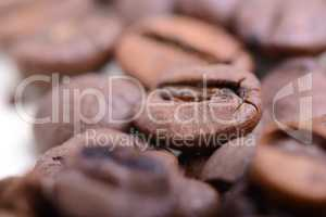 Roasted coffee bean close up. Food background