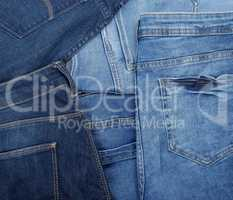 different classic blue jeans, full frame