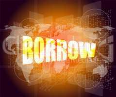 Pixeled financial background on digital screen - borrow