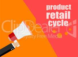 flat design business concept. product retail cycle. Digital marketing business man holding megaphone for website and promotion banners.