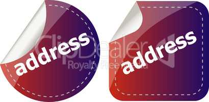address word stickers set, icon button, business concept