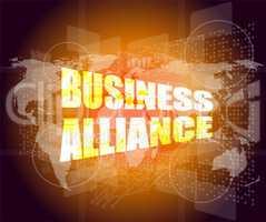 Management concept: business alliance words on digital screen