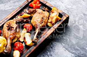Duck meat with apple