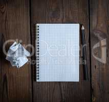 open notebook with white sheets