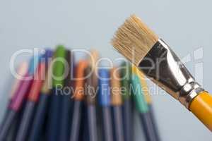 detail of brush bristles on blue background.