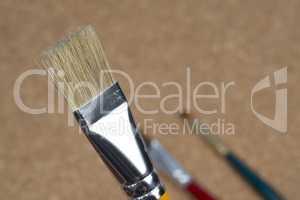 detail of brush bristles on cork background