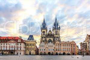 Famous Old Town Square in Prague, Czech Republic