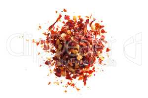 Dried chili flakes and seeds