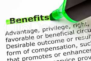 Dictionary Definition Of Word Benefits