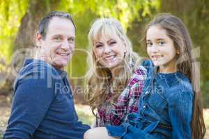 Caucasian Grandmother and Grandfather With Young Mixed Race Girl