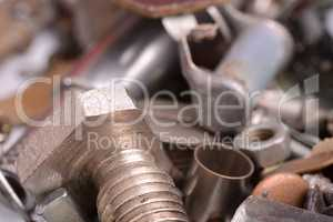 old rusty screw,nuts and bolt with vintage style, close up