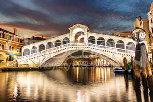 The Rialto Bridge night view, no people, Venice, Italy