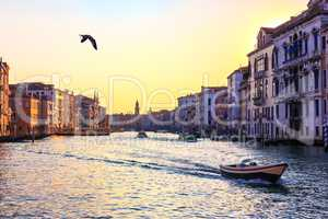 Grand Canal of Venice, beautiful view near the Rialto Bridge