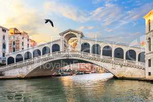 The Rialto Bridge in the quiet morning, no people, Venice, Italy