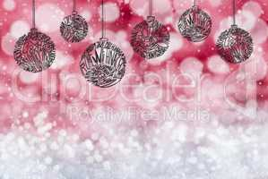 Christmas Tree Ball Ornament, Copy Space, Red Background, Snow