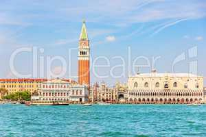 Piazza San Marco and other Venice sights, view from the sea