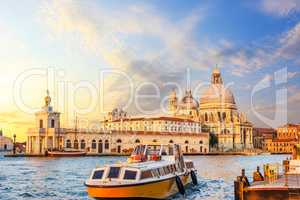 Church of Santa Maria della Salute and the boat near the pier in