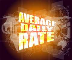 words average daily rate on business digital touch screen