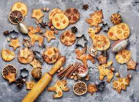 Christmas cookies on retro table