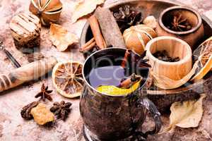 Traditional mulled wine in mug