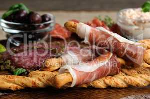 antipasto platter on wooden surface