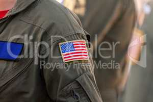 American flag patch on a pilots uniform