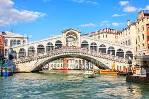 Famous Rialto bridge over the Grand Canal, Venice, Italy