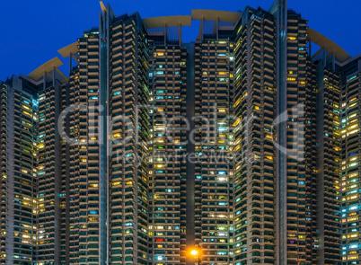 Hong Kong - South West - tower blocks at blue hour