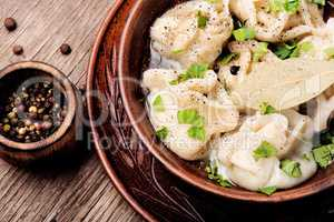 Ukrainian pelmeni on plate