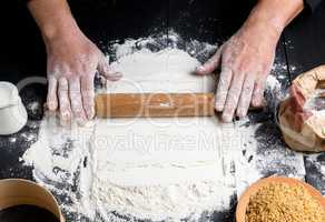 process of making dough by male hands