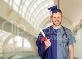Split Screen of Caucasian Male As Graduate and Nurse On Campus