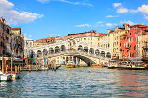 The Rialto Bridge, one of the most visited sights of Venice, Ita