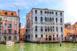 Narrow venetian channel near Garzoni Palace on the Grand Canal o