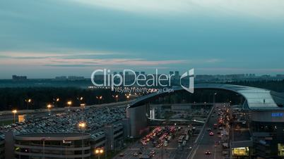 Timelapse of night city with busy roads near Sheremetyevo Airport, Moscow