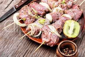 Raw shish kebab