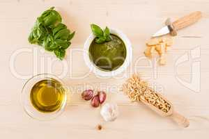 Pesto genovese sauce with its ingredients
