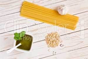 Pesto genovese and linguine pasta, pine nuts and garlic