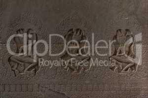 Bas-relief of dancing women in Angkor Wat