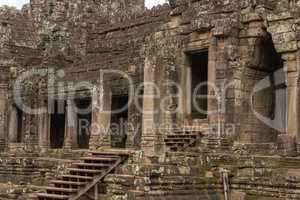 Colonnade and doorways in ruined Bayon temple
