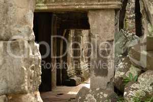 Rock pile at entrance to stone corridor