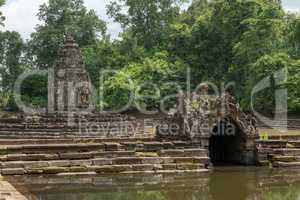 Stone monuments in pond at Neak Pean