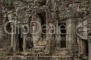 Three doorways in ruins of Bayon temple